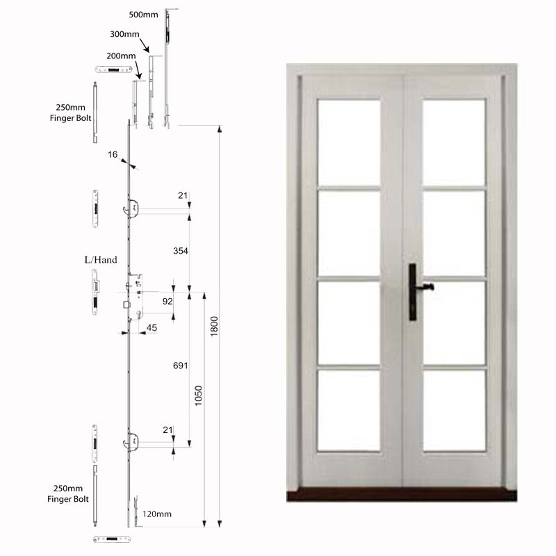 Double Doors With Single Handle & Fingerbolts